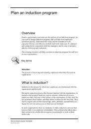 Plan an induction program - SWSI (TAFE NSW) Moodle