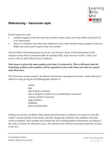 Appendix 2 sage vancouver reference style referencing vancouver style ccuart Images