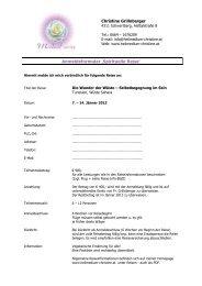 Anmeldeformular - Heilmedium Christine Grillnberger Schwertberg