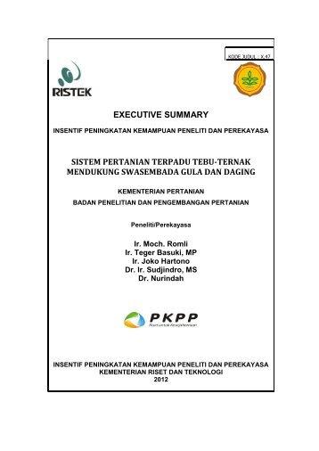 Executive summary - PKPP - Kementerian Riset dan Teknologi