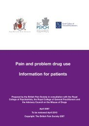 Pain and problem drug use Information for patients - The British Pain ...