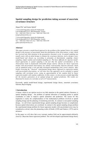 Spatial sampling design for prediction taking account of uncertain ...