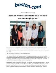 Bank of America connects local teens to summer employment