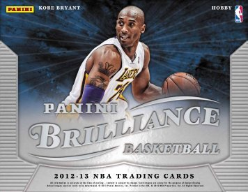 2012-2013 Panini Brilliance Basketball Product Information Sheet