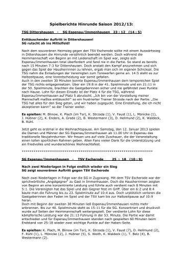 Spielberichte Hinrunde Saison 2012/13 (PDF) - TSV Immenhausen