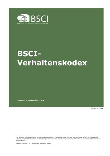 BSCI Verhaltenskodex - deutsch - November 2009