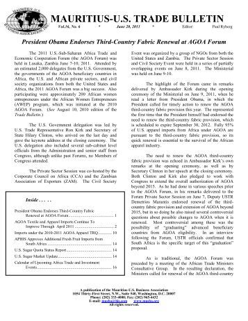 June Trade Bulletin - Mauritius. US Business Association, Inc.