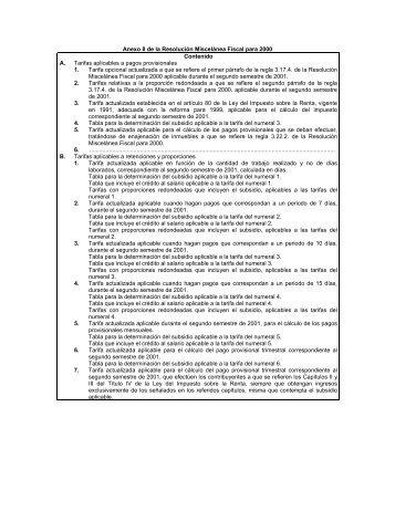 Anexo 8 de la Resolución Miscelánea Fiscal para 2000 - CPware