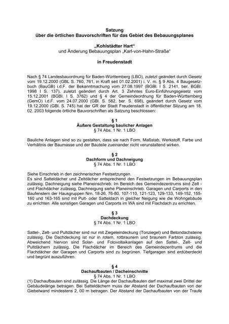 Satzung über die örtlichen Bauvorschriften - Bauen-in-freudenstadt.de