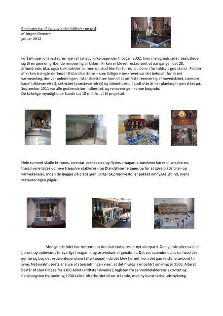 Restaurering af Lyngby kirke i billeder og ord af Jørgen Demant ...