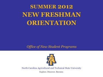 new freshman orientation - North Carolina A&T State University