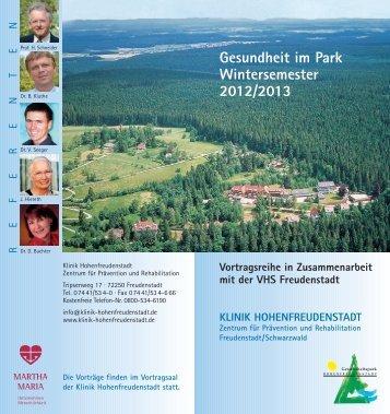 Gesundheit im Park Wintersemester 2012/2013 - Klinik ...