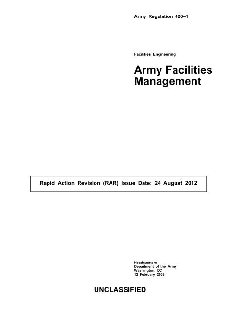 AR 420 1 Army Facilities Management Army Publishing