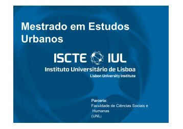 Mestrado em Estudos Urbanos