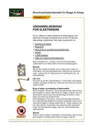 Faktablad om uddannelseskrav for elektrikere - BAR Bygge & Anlæg