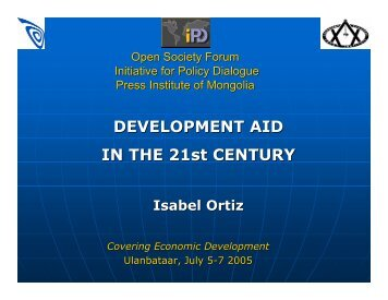 Presentation on Development Aid - Initiative for Policy Dialogue