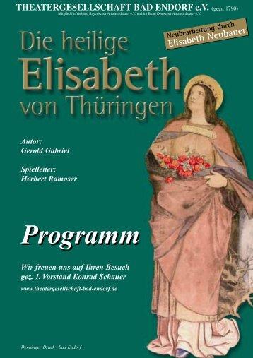 """Programmheft """"Die heilige Elisabeth aus Thüringen"""" 2002"""