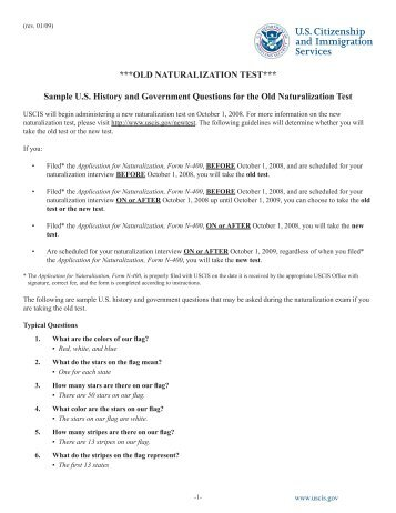 Citizenship sample questions for Naturalization Test Chapter 3