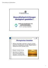 Krankenhäuser ökologisch gestalten! - ONGKG