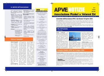 ApveNotizie Luglio 2004 - associazione pionieri e veterani eni