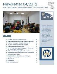 Newsletter 04/2012 - Biuro Współpracy Międzynarodowej UKW