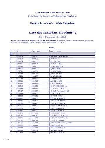 Liste des Candidats Préadmis(*) - Ecole Doctorale Sciences et ...