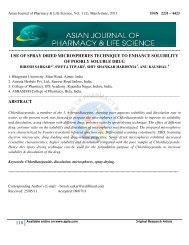 Asian Journal of Pharmacy & Life Science, Vol. 1 (2), March