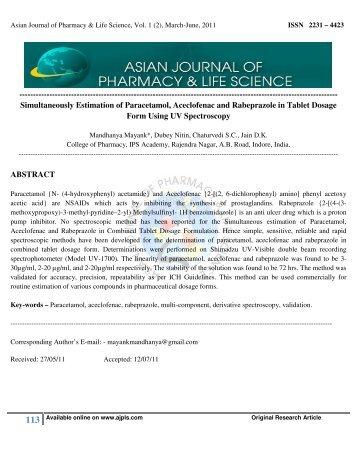 Simultaneously Estimation of Paracetamol, Aceclofenac