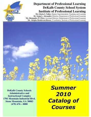 Summer 2010 Catalog of Courses - Dekalb County School System ...