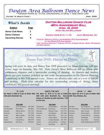 13 04 Arpil 2009 Newsletter - Ballroom Dance Dayton