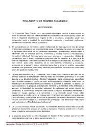 reglamento de régimen académico - Universidad Casa Grande
