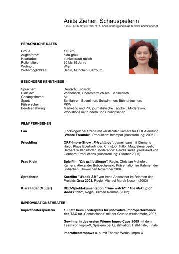 Anita Zieher, Schauspielerin - Zieher, Anita