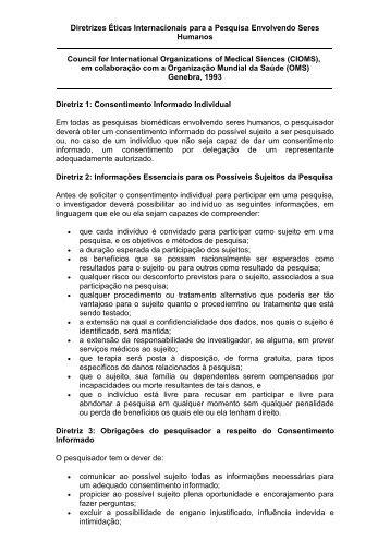 Diretrizes Éticas Internacionais para a Pesquisa Envolvendo Seres ...