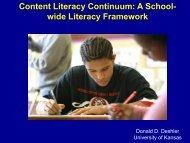 Content Literacy Continuum: A School- wide Literacy Framework