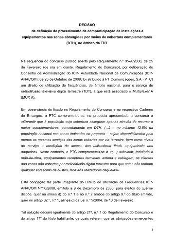 Decisao DTH 7Abril 2011 - TV Digital em Portugal