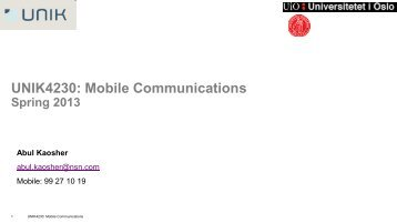 UNIK4230: Mobile Communications - CWI