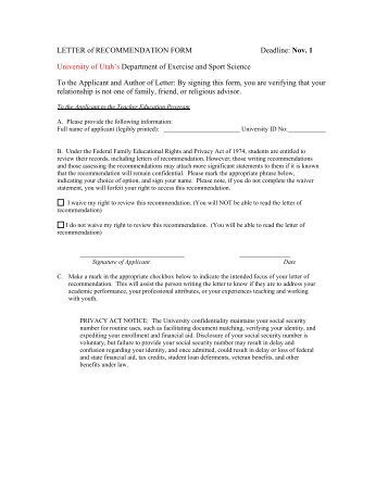 letter of recommendation form pdf