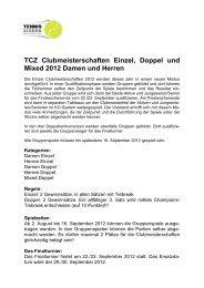 TCZ Clubmeisterschaften Einzel, Doppel und Mixed 2012 Damen ...