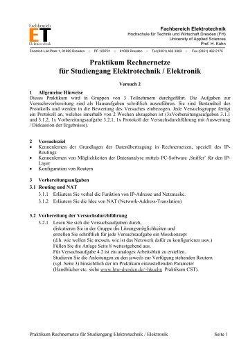 Praktikum Rechnernetze für Studiengang Elektrotechnik / Elektronik