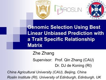 Genomic Selection Using Best Linear Unbiased Prediction with a ...