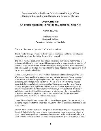 Cyber Attacks: An Unprecedented Threat to U.S. National Security