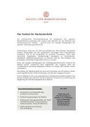 Portrait des Instituts für Markentechnik Genf - Institut für ...