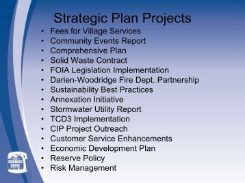 2010 Strategic Plan Projects Update 3-19-10 - Village of Downers ...