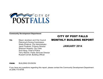 CITY OF POST FALLS MONTHLY BUILDING REPORT MAY 2013
