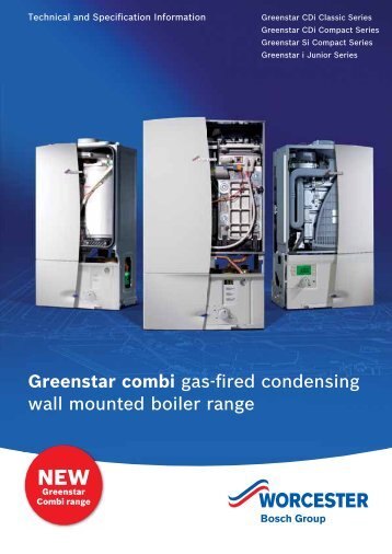 Tech and spec for wall mounted gas combi boilers - Worcester Bosch