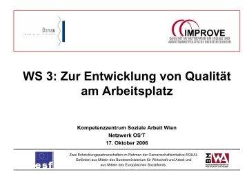 WS 3: Zur Entwicklung von Qualität am Arbeitsplatz