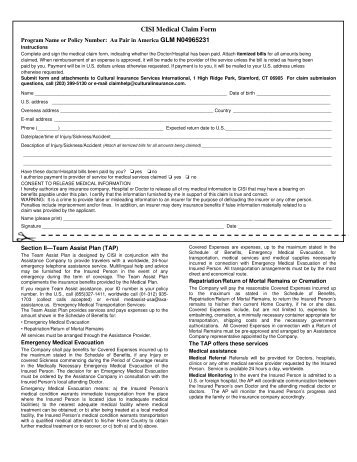 Cisi Medical Claim Form For Reimbursement