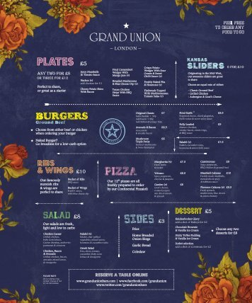Open Grand Union Camden Food Menu - GuestlistSPOT.com