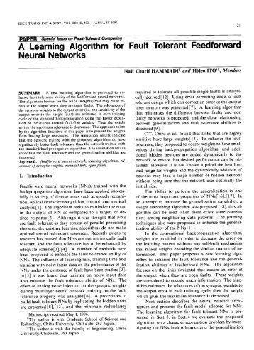 A Learning Algorithm for Fault Tolerant Feedforward Neural ... - ieice