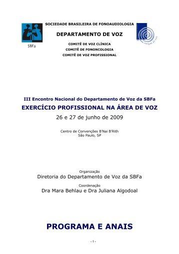 Programa e Anais - Sociedade Brasileira de Fonoaudiologia